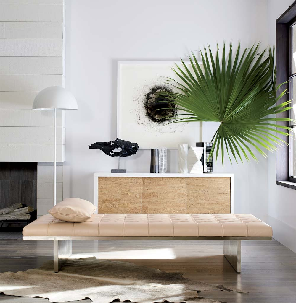 Luxe Statement Small Living Room Idea Featuring Cork Credenza Designed By Joana Magalhaes