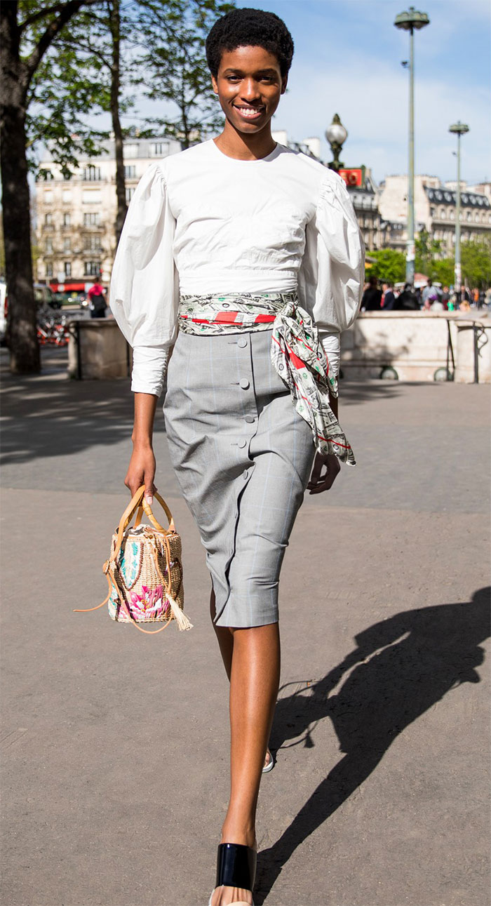 Off-White Pencil Skirt Worn By Model