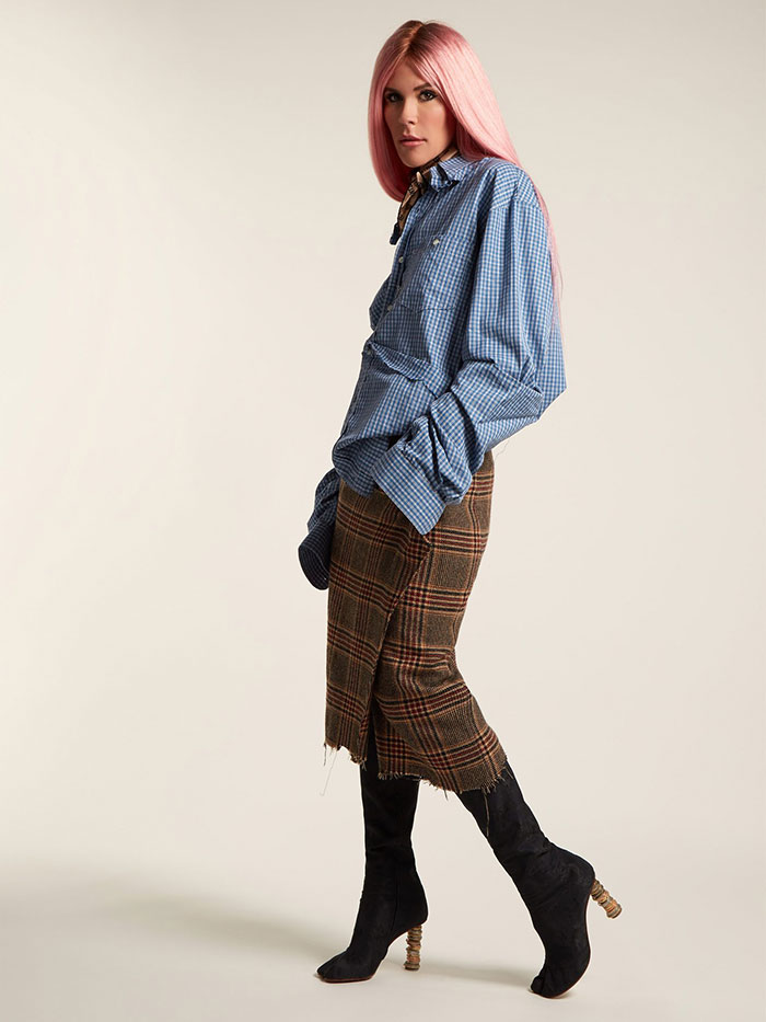 Tweed Checked Pencil Skirt Worn By Model