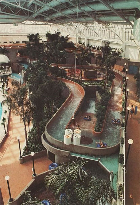 A mall with a waterpark in the 80s
